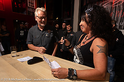Managing director Andreas Scholz at his Custom Chrome Europe party during the Intermot International Motorcycle Fair. Cologne, Germany. Friday October 5, 2018. Photography ©2018 Michael Lichter.