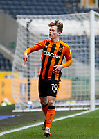 Hull City's Keane Lewis-Potter celebrates scoring scores his side's second goal in the 71st minute to makeit 2-0<br /> <br /> Photographer Lee Parker/CameraSport<br /> <br /> The EFL Sky Bet League One - Hull City v Oxford United - Saturday 13th March 2021 - KCOM Stadium - Kingston upon Hull<br /> <br /> World Copyright © 2021 CameraSport. All rights reserved. 43 Linden Ave. Countesthorpe. Leicester. England. LE8 5PG - Tel: +44 (0) 116 277 4147 - admin@camerasport.com - www.camerasport.com