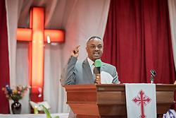 27 October 2019, Addis Ababa, Ethiopia: Atu Teklu Tefese speaks during Sunday service at the Finfinne Oromo Mekane Yesus Congregation of the Ethiopian Evangelical Church Mekane Yesus. In a context where congregations did not use to be allowed to hold their services in any language but Amharic, the congregation today is one of some 60 Oromo speaking Mekane Yesus congregations in Addis Ababa. The service takes place on the first Sunday following political turmoil in the country, claiming dozens of lives.