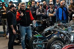 Radikal Choppers' customizer Andrea Radaelli of Italy in the MBE award finals at Motor Bike Expo (MBE) bike show. Verona, Italy. Friday, January 17, 2020. Photography ©2020 Michael Lichter.