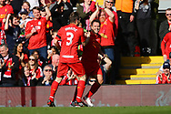 Michael Owen of Liverpool legends team (r) celebrates with his teammate Bjorn Tore Kvarme after scoring his teams 1st goal. Liverpool Legends  v Real Madrid Legends, Charity match for the LFC Foundation at the Anfield stadium in Liverpool, Merseyside on Saturday 25th March 2017.<br /> pic by Chris Stading, Andrew Orchard sports photography.