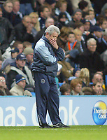 11/12/2004 - FA Barclays Premiership - Manchester City v Tottenham Hotspur - The City of Manchester Stadium.<br />Manchester City's dejected manager Kevin Keegan stands on the touchlineholding his head.<br />Photo:Jed Leicester/Back Page Images