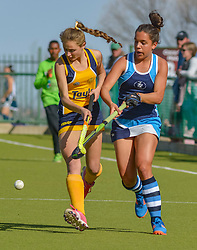 Charne Smit of Oranje MS and Tatiana Martins of Springfield during day two of the FNB Private Wealth Super 12 Hockey Tournament held at Oranje Meisieskool in Bloemfontein, South Africa on the 7th August 2016, <br /> <br /> Photo by:   Frikkie Kapp / Real Time Images