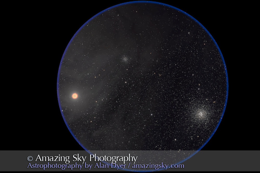 M4 (at right) and NGC 6144 (upper) globular clusters with Antares. Taken with 4-inch AP Traveler apo refractor at f/4.5 with Canon 20Da camera at ISO 800 for stack of 4 x 5 minute exposures. Taken from Coonabarabran, NSW, March 27, 2007.