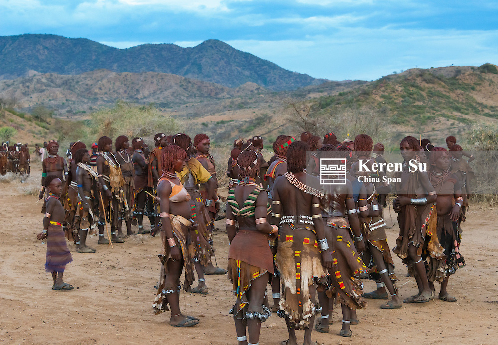 Hamar tribe people at Cattle Jumping (a ceremonial event celebrating a Hamar man comes of age) in Hamar Village, South Omo, Ethiopia
