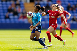 BIRKENHEAD, ENGLAND - Sunday, August 29, 2021: London City Lionesses' Kenni Thompson (L) and Liverpools' Melissa Lawley during the FA Women's Championship game between Liverpool FC Women and London City Lionesses FC at Prenton Park. London City won 1-0. (Pic by Paul Currie/Propaganda)