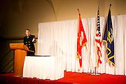 The Nave ROTC and Marine ROTC celebrate at the Navy and marine birthday ball at the Monona Terrace in Madison, Wisconsin on November 10, 2012.