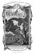 Ezekiel's vision of chariot in sky and a hand in the clouds holding out a book to him, c.614 BC. 'Bible': Ezekiel II:9. One modern explanation is that Ezekiel, on of the four great Hebrew prophets, observed parhelia (mock suns), a phenomenon caused by reflection from water droplets or minute particles in the earth's atmosphere. Copperplate engraving 1804