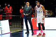 Vitucci Francesco Joshua Bostic<br /> UnaHotels Reggio Emilia Happy Casa Brindisi<br /> Legabasket Serie A UnipolSAI 2020/2021<br /> Bologna, 11/10/2020<br /> Foto A.Giberti / Ciamillo-Castoria