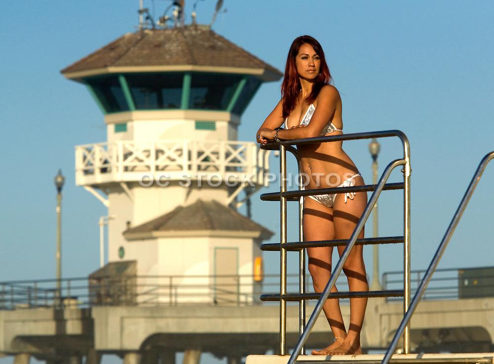 Woman In Bikini At The Huntington Beach Pier
