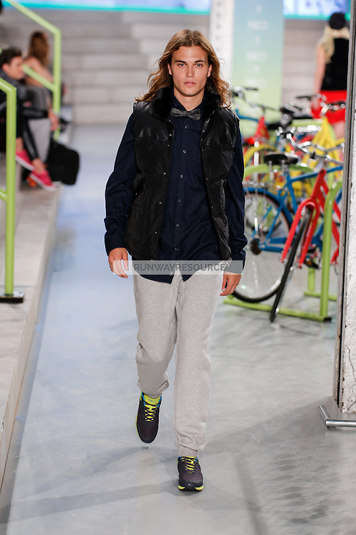 A model walks the runway wearing Adidas Neo Spring 2015 during Mecedes-Benz Fashion Week in New York on September 3rd, 2014