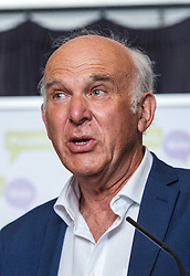 © Licensed to London News Pictures. 11/08/2018. Bristol, UK. SIR VINCE CABLE, Lib Dem leader, speaking at a People's Vote rally at the Colston Hall in Bristol calling for a people's vote on the Brexit deal. Speakers at the rally included Leader of the Liberal Democrats Sir Vince Cable, Totnes Conservative MP Sarah Wollaston and Labour MP Stephen Doughty. The Bristol rally is the first in a series of rallies across the UK. Photo credit: Simon Chapman/LNP