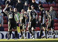 Photo: Aidan Ellis.<br /> Barnsley v Swansea City. Coca Cola League 1. 04/03/2006.<br /> Swansea's Andy Robinson celebrates his goal with lee trundle