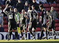Photo: Aidan Ellis.<br /> Barnsley v Swansea City. Coca Cola League 1. 04/03/2006.<br /> Swansea's Andy Robinson celebrates his goal with lee trundle