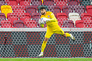 Brentford goalkeeper David Raya (1) makes a save during the EFL Sky Bet Championship match between Brentford and Coventry City at Brentford Community Stadium, Brentford, England on 17 October 2020.