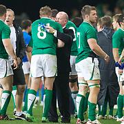 Irish coach Declan Kidney congratulates Jamie Heaslip after the Ireland V Italy Pool C match during the IRB Rugby World Cup tournament. Otago Stadium, Dunedin, New Zealand, 2nd October 2011. Photo Tim Clayton...