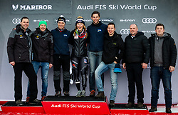 Winner SHIFFRIN Mikaela of USA and the organising team celebrate during Trophy ceremony after the 7th Ladies'  Slalom at 55th Golden Fox - Maribor of Audi FIS Ski World Cup 2018/19, on February 2, 2019 in Pohorje, Maribor, Slovenia. Photo by Matic Ritonja / Sportida