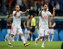 Spain's Isco (right) appeals to the referee to use VAR after his shot hits the crossbar and almost crosses the line