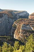 High angle view on sunlit gorges du verdon, France