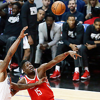 28 February 2018: Houston Rockets center Clint Capela (15) vies for the rebound with LA Clippers center DeAndre Jordan (6) during the Houston Rockets 105-92 victory over the LA Clippers, at the Staples Center, Los Angeles, California, USA.