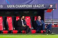 """SEVILLE, SPAIN - OCTOBER 28: Ramon Rodriguez """"Monchi"""" (right), sports director of FC Sevilla before the UEFA Champions League Group E stage match between FC Sevilla and Stade Rennais at Estadio Ramon Sanchez-Pizjuan on October 28, 2020 in Seville, Spain. (Photo by Juan Jose Ubeda/ MB Media)."""