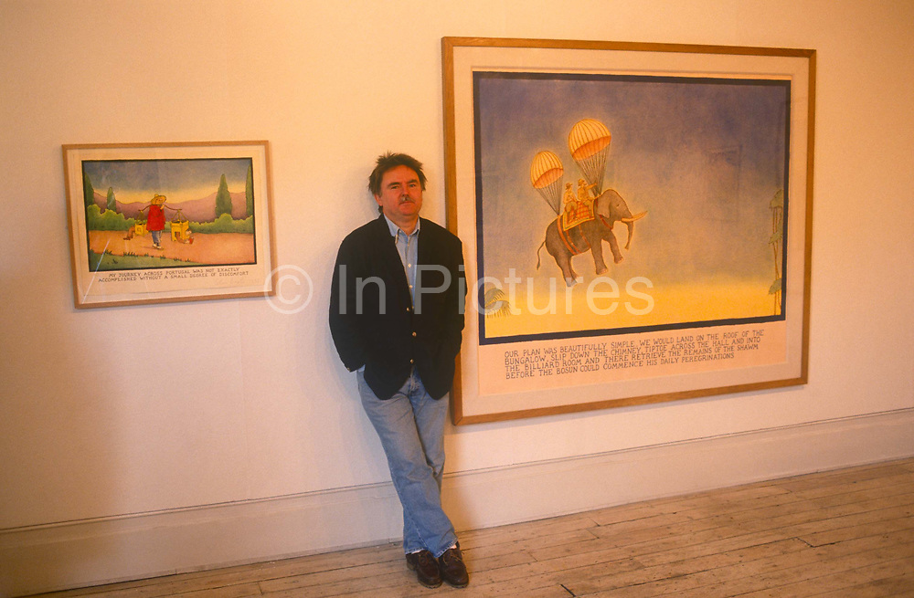 A portrait of English cartoonist, Glen Baxter whose surrealist, absurdist drawings are exhibited in the Eagle on 12th June 1994 in Clerkenwell, London, England. Born in Leeds in 1944, Baxter was trained at the Leeds College of Art. His images, and their corresponding captions, fuse art and language inspired by pulp fiction and adventure comics with intellectual jokes and references. Baxters art has been collected in numerous books, and his work has appeared in The New Yorker, Vanity Fair, and The Independent on Sunday. His simple line-drawings often feature cowboys, gangsters, explorers, and schoolchildren, who utter incongruous intellectual statements regarding art and philosophy.