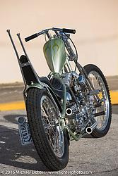 Jim Harper's (Jim's Choppers) custom Harley-Davidson Shovelhead painted by Chemical Candy (Scott Hoepker) during the Biltwell Bash at Robison's Cycles. Daytona Bike Week 75th Anniversary event. FL, USA. Friday March 11, 2016.  Photography ©2016 Michael Lichter.