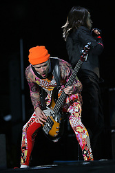 Flea, of the Red Hot Chilli Peppers, headliners on the main stage at T in the Park, Sunday 2006..©Michael Schofield..