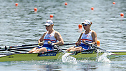 GBR W2X Bow - Elise Laverick [right] and Debbie Flood, move away from the start, in their heat of the women's double sculls on the opening day of the 2005, World Rowing Championships, held on the Nagaragawa International Regatta Course, Gifu, JAPAN: Monday  29.08.2005.   © Peter Spurrier/Intersport Images - email images@intersport-images.com