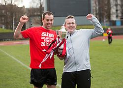 Edinburgh City's Douglas Gair and manager Gary Jardine. Edinburgh City crowned champions. <br /> Edinburgh City 0 v 0 Gretna FC2008, Scottish Sun Lowland League game played at Meadowbank Stadium, 28/3/2015.