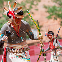 080813       Brian Leddy<br /> Clabor Garcia of the Ohkay Owingeh Pueblo performs at Red Rock Park Thursday afternoon. The group was one of many that performed for early guests to the 92nd Gallup Inter-Tribal Indian Ceremonial.