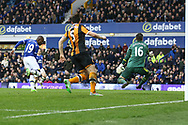 Enner Valencia of Everton puts the ball past Hull City Goalkeeper Eldin Jakupovic to score his teams 2nd goal. Premier league match, Everton v Hull city at Goodison Park in Liverpool, Merseyside on Saturday 18th March 2017.<br /> pic by Chris Stading, Andrew Orchard sports photography.