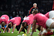 Wales head coach Warren Gatland looks on ahead of the match. Rugby World Cup 2015 pool A match, England v Wales at Twickenham Stadium in London, England  on Saturday 26th September 2015.<br /> pic by  Andrew Orchard, Andrew Orchard sports photography.