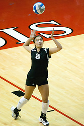 19 AUG 2006  Huskies Maria Benitez tosses up for a serve. Northern Illinois Huskies got slammed by Illinois State Redbirds, losing the match 3 games to 1. Game action took place at Redbird Arena on the campus of Illinois State University in Normal Illinois.