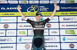Winner Sam Bennett (ITA) of Bora - Hansgrohe celebrates at trophy ceremony during Stage 1 of 24th Tour of Slovenia 2017 / Tour de Slovenie from Koper to Kocevje (159,4 km) cycling race on June 15, 2017 in Slovenia. Photo by Vid Ponikvar / Sportida