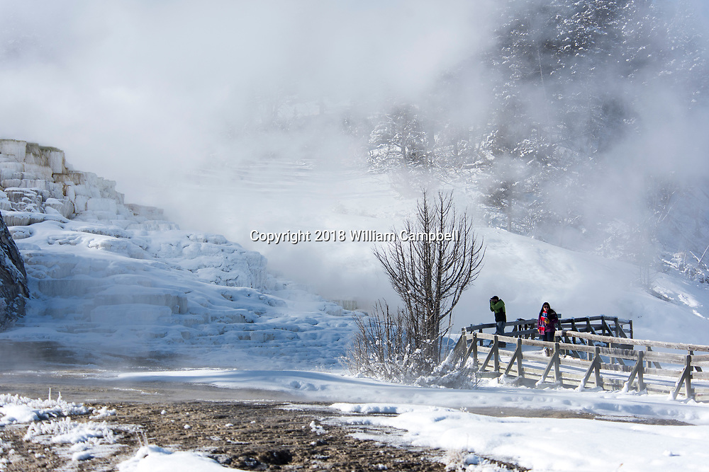 YELLOWSTONE NATIONAL PARK, WY-JANUARY 21-Visitors explore the Travertine Terraces at Mammoth Hot Springs in Yellowstone National Park during the government shutdown. Visitors are allowed to enter the park with the understanding that there are no government services due to the government shutdown. (Photo by William Campbell/Corbis via Getty Images)