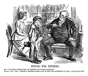 """Physic for Fenians. Erin. """"I'm afraid, docthor dear, his symptoms are getting dangerous."""" Dr. Bull. """"Ha! I see! I treated a somewhat similar case very successfully in India; leave him to me."""""""