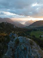 Aerial View of Swiss Mountain Peak in Schwyz, Switzerland