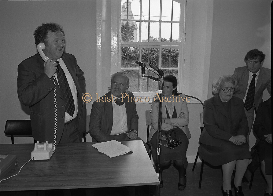 Opening of Automatic Telephone Exchange, Aran Mor..1980-06-20.20th June 1980.20/06/1980.06-20-80..Photographed at Kilronan, Inismore:..Minister of State at the Department of Posts and Telegraphs, Mark Killilea, opens the new automatic exchange at Kilronan on Inismore...From left:..First: Minister of State at the Department of Posts and Telegraphs, Mark Killilea TD...Third: Máire Geoghegan-Quinn TD, Minister for the Gaeltacht...Fourth: Máire Bn. Nic Giolla Phádraig, Postmistress Kilronan who looks after the exchange.