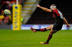 Saracens Fly-Half (#10) Charlie Hodgson kicks a Penalty during the second half of the match - Photo mandatory by-line: Rogan Thomson/JMP - Tel: Mobile: 07966 386802 04/11/2012 - SPORT - RUGBY - Vicarage Road - Watford. Saracens v London Wasps - Aviva Premiership