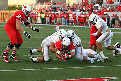 03 September 2016: DeMarco Corbin dives under a pair of Crusaders to get 6 points.  NCAA FCS Football game between Valparaiso Crusaders and Illinois State Redbirds at Hancock Stadium in Normal IL (Photo by Alan Look)