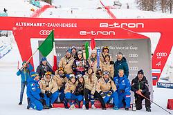 12.01.2020, Keelberloch Rennstrecke, Altenmark, AUT, FIS Weltcup Ski Alpin, Alpine Kombination, Damen, Siegerehrung, im Bild Teamfoto Italien mit Federica Brignone (ITA, 1. Platz) und Marta Bassino (ITA, 3. Platz), Sofia Goggia (ITA), Nicol Delago (ITA) // teampicture Italy with race winner Federica Brignone of Italy third placed Marta Bassino of Italy Sofia Goggia of Italy Nicol Delago of Italy during the winner ceremony of women's Alpine combined for the FIS ski alpine world cup at the Keelberloch Rennstrecke in Altenmark, Austria on 2020/01/12. EXPA Pictures © 2020, PhotoCredit: EXPA/ Johann Groder