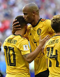 July 14, 2018 - Saint Petersbourg, Russie - SAINT PETERSBURG, RUSSIA - JULY 14 : goal Eden Hazard midfielder of Belgium, Vincent Kompany defender of Belgium  during the FIFA 2018 World Cup Russia Play-off for third place match between Belgium and England at the Saint Petersburg Stadium on July 14, 2018 in Saint Petersburg, Russia, 14/07/18 (Credit Image: © Panoramic via ZUMA Press)