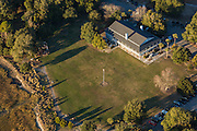 Aerial view of an outdoor wedding at Alhambra Hall in Mt Pleasant, SC