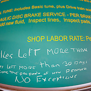 The shop rates in the Mountain Pedaler Bike Shop in Minturn, Colorado.