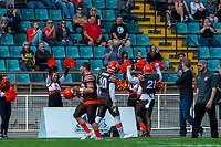 KELOWNA, CANADA - SEPTEMBER 16: Running back Andre Goulbourne #21 of the Okanagan Sun celebrates a touchdown against the Vancouver Island Raiders on September 16, 2018, at the Apple Bowl, in Kelowna, British Columbia, Canada.  (Photo by Marissa Baecker/Shoot the Breeze)  *** Local Caption ***