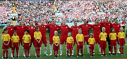 MOSCOW, June 19, 2018  Players of Poland sing the national anthem prior to a Group H match between Poland and Senegal at the 2018 FIFA World Cup in Moscow, Russia, June 19, 2018. (Credit Image: © Cao Can/Xinhua via ZUMA Wire)
