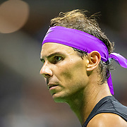 2019 US Open Tennis Tournament- Day Ten.  Rafael Nadal of Spain during his match against Diego Schwartzman of Argentina in the Men's Singles Quarter-Finals match on Arthur Ashe Stadium during the 2019 US Open Tennis Tournament at the USTA Billie Jean King National Tennis Center on September 4th, 2019 in Flushing, Queens, New York City.  (Photo by Tim Clayton/Corbis via Getty Images)