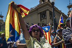 June 11, 2017 - Barcelona, Catalonia, Spain - Pro-independence demonstrators show their flags during a manifestation at Barcelona's Montjuic Fountains in support of the recently announced referendum over Catalonia's independence from Spain in form of a republic at October 1st (Credit Image: © Matthias Oesterle via ZUMA Wire)