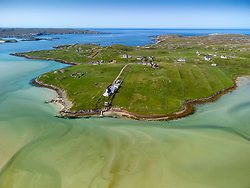Aerial view from drone of Uig and Crowlista settlement on west coast of Isle of Lewis , Outer Hebrides, Scotland, UK